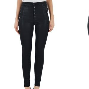 J Brand Natasha High Rise Skinny Jean Coated Black